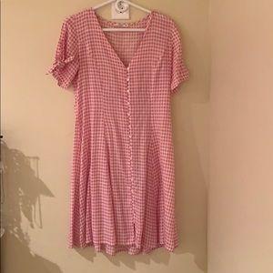 Mango pink gingham dress